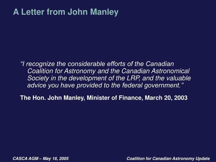 A Letter from John Manley