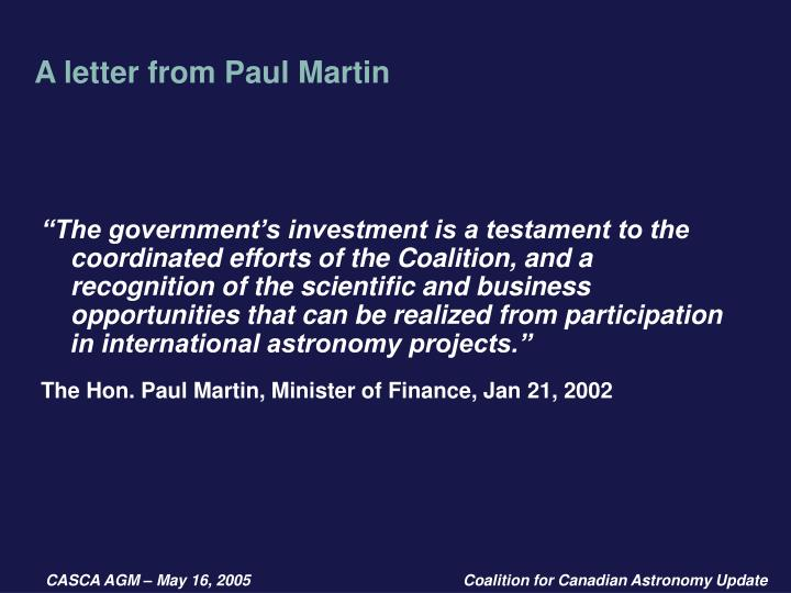 A letter from Paul Martin