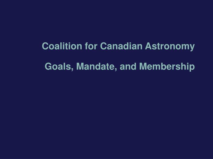 Coalition for Canadian Astronomy
