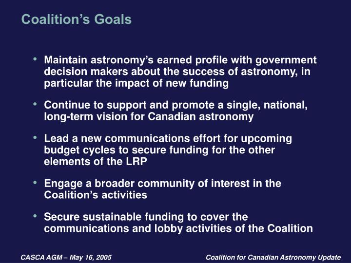 Coalition's Goals