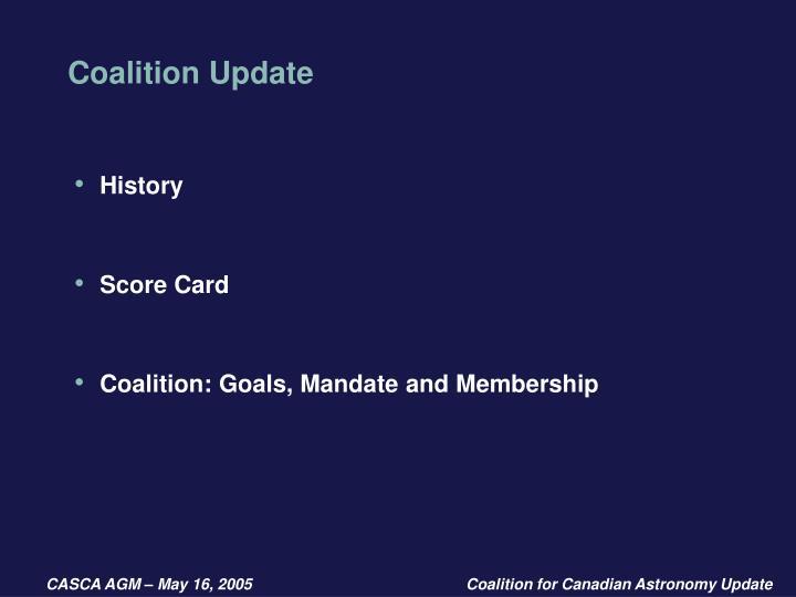 Coalition update