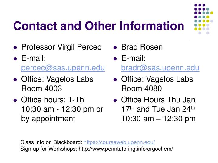 Contact and other information