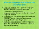 why are languages distributed the way they are