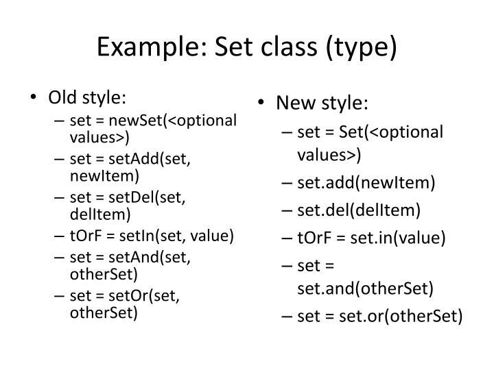 Example set class type