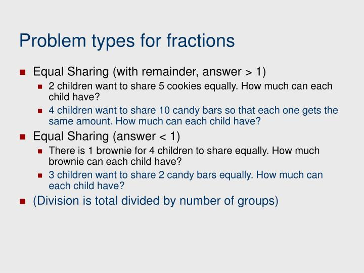 Problem types for fractions
