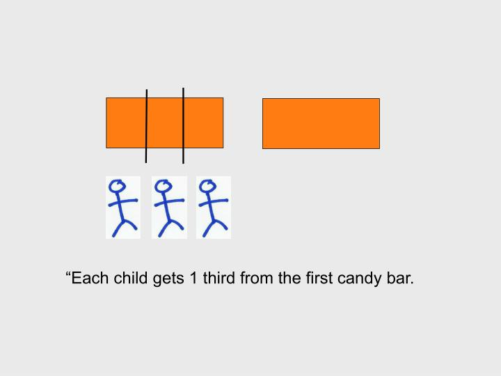 """Each child gets 1 third from the first candy bar."