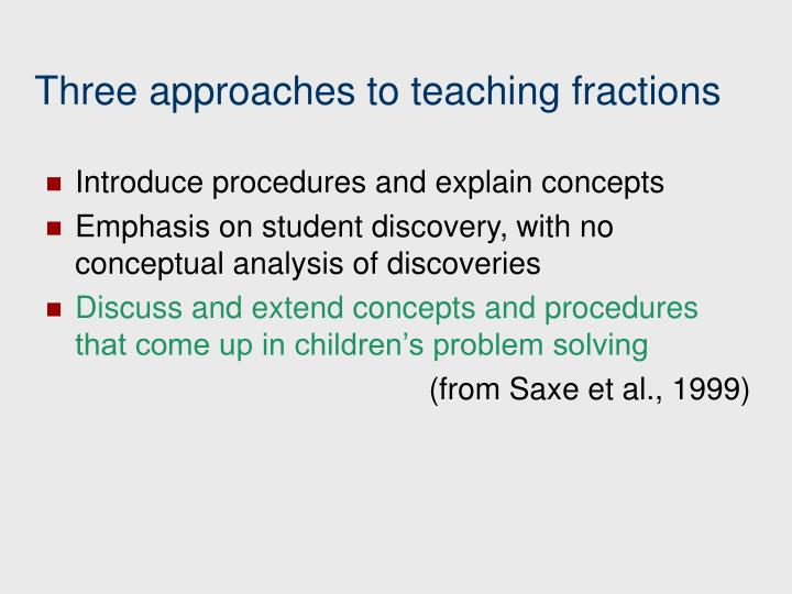 Three approaches to teaching fractions