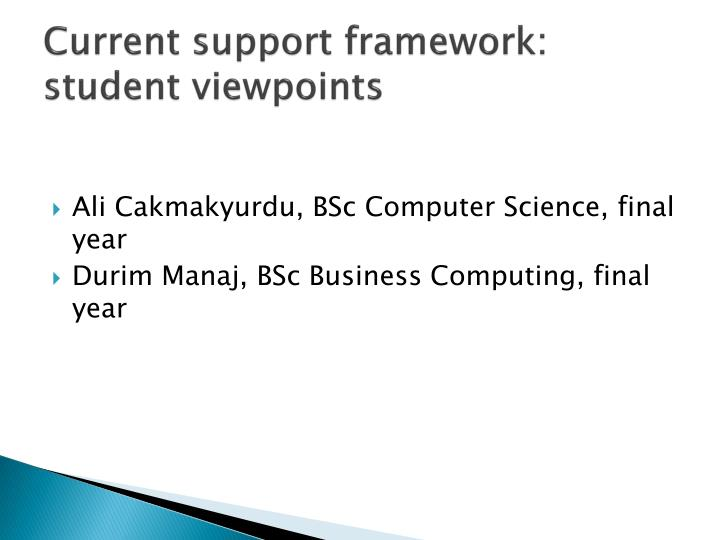Current support framework: student viewpoints