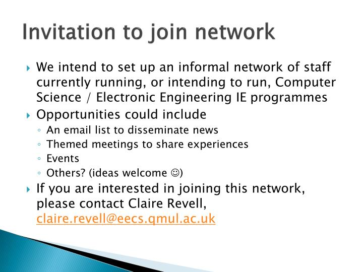 Invitation to join network
