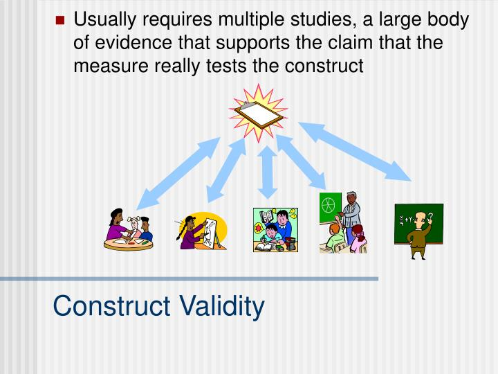 Usually requires multiple studies, a large body of evidence that supports the claim that the measure really tests the construct
