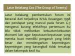 latar belakang g20 the group of twenty