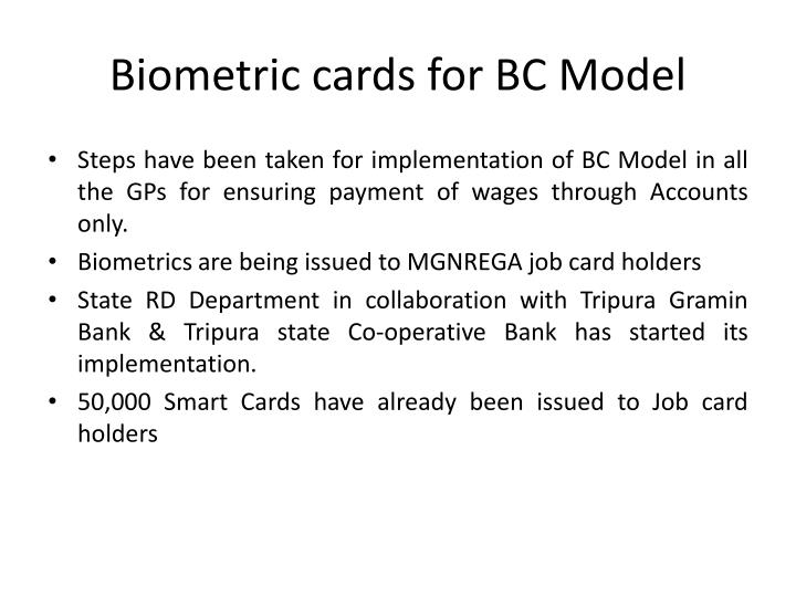 Biometric cards for BC Model
