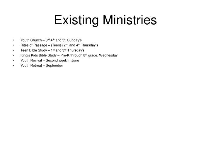 Existing Ministries