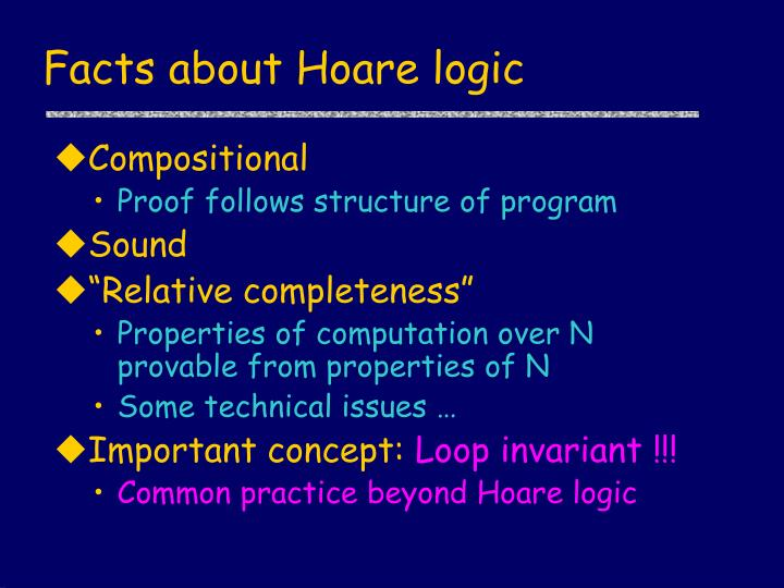 Facts about Hoare logic