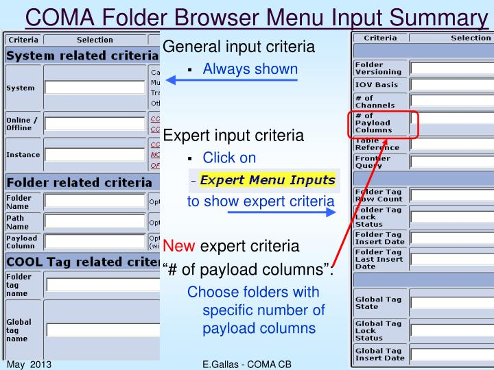 COMA Folder Browser Menu Input Summary