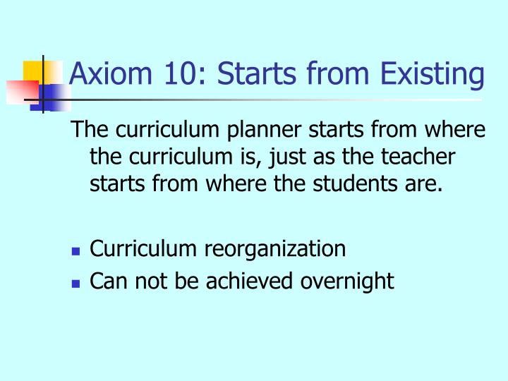 Axiom 10: Starts from Existing