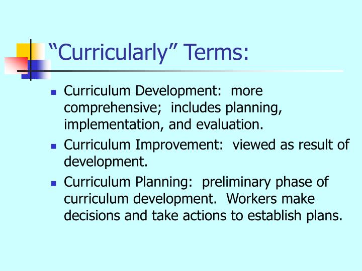 Curricularly terms