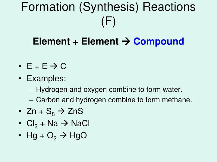 Formation synthesis reactions f