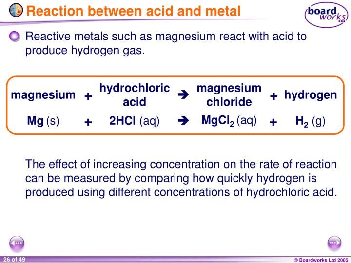 an overview of the experiment acids effect between dilute hydrochloric acid and magnesium ribbon Overview of the experiment: in this reaction two substances will be present in the solution, magnesium and hydrochloric acid during the reaction magnesium particles will collide with the hydrochloric acid particles to produce the salt mg chloride and hydrogen gas.