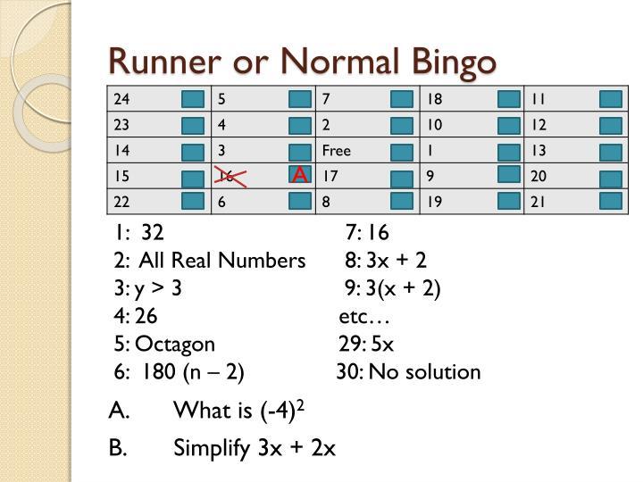Runner or Normal Bingo