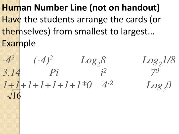 Human Number Line (not on handout)