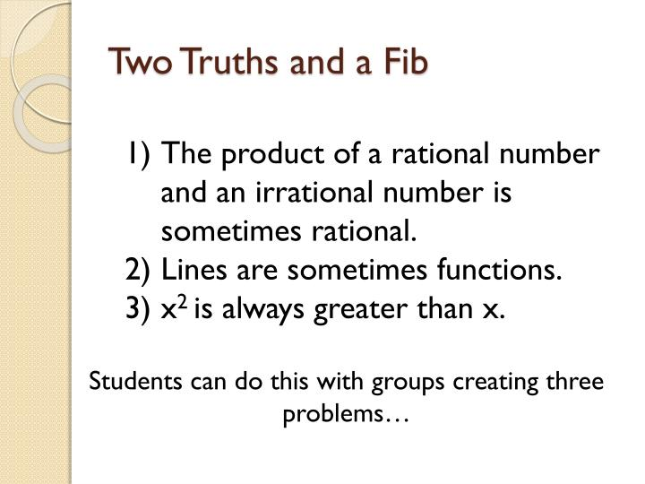 Two Truths and a Fib