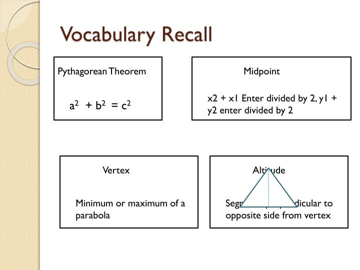 Vocabulary Recall