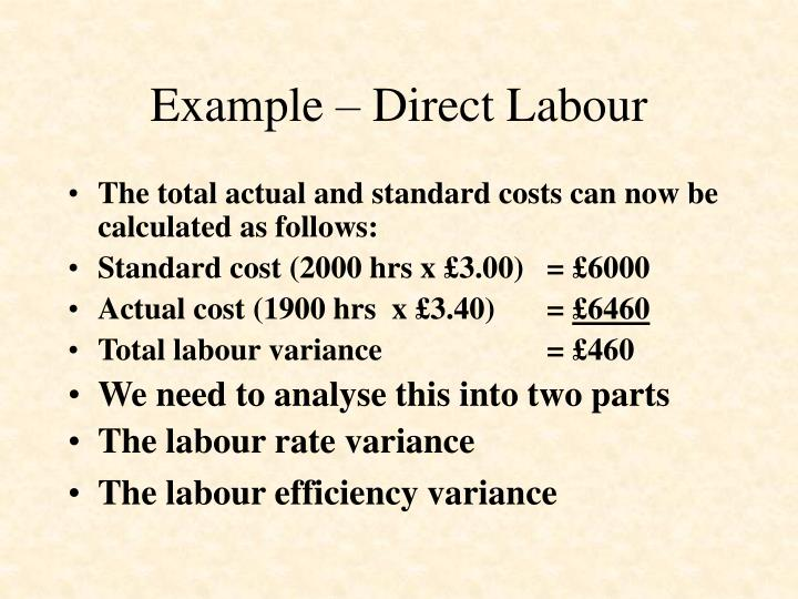 Example – Direct Labour
