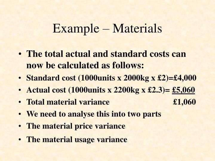 Example – Materials