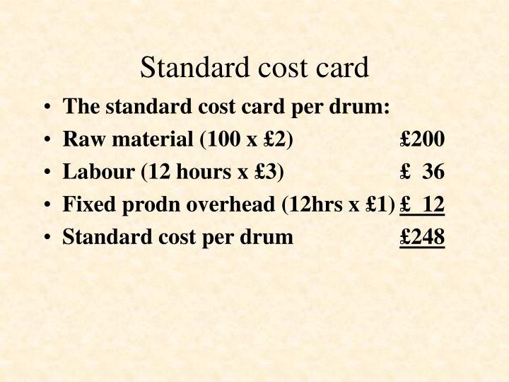 Standard cost card