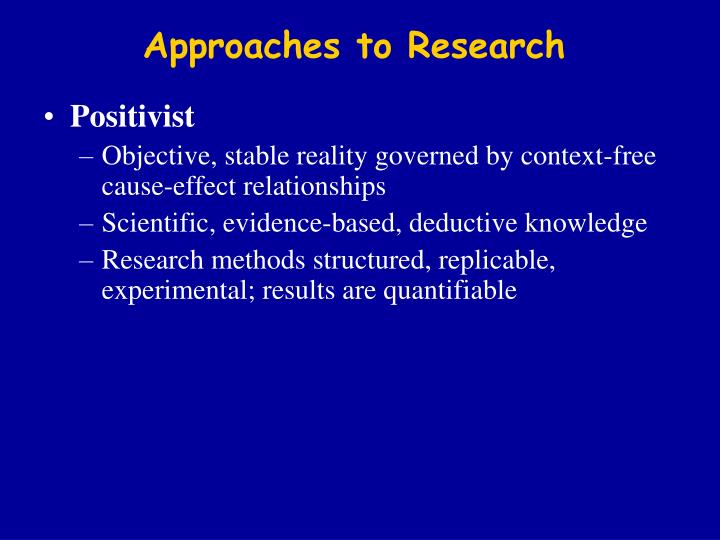 positivist approach to research Positivist approach to research entry by duncan j issues in educational essays for college admissions research vol 16(2), 2006: positivism is a philosophical theory stating that certain (positive) knowledge is based on natural phenomena and their properties and relations let's start.