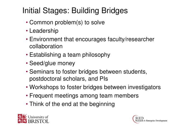 Initial Stages: Building Bridges