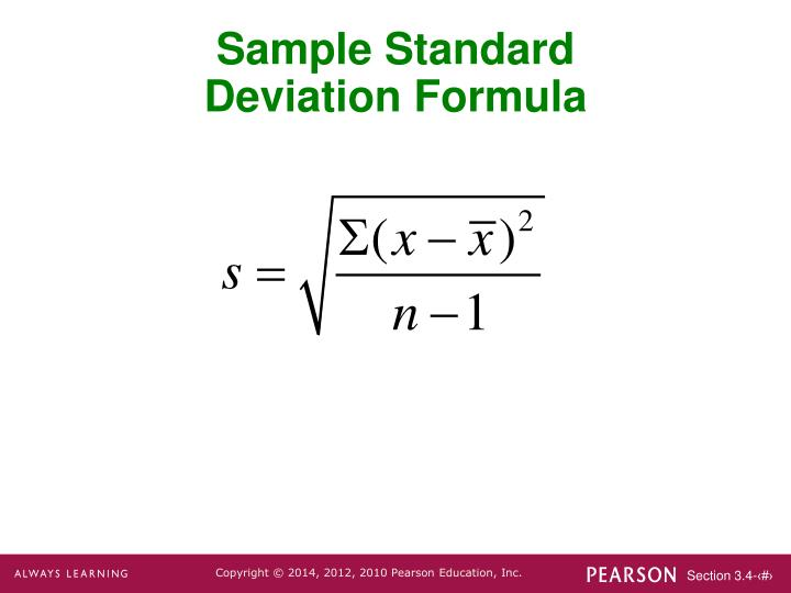 how to find sample standard deviation with three values