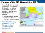 purpose of the rir disposal site eis
