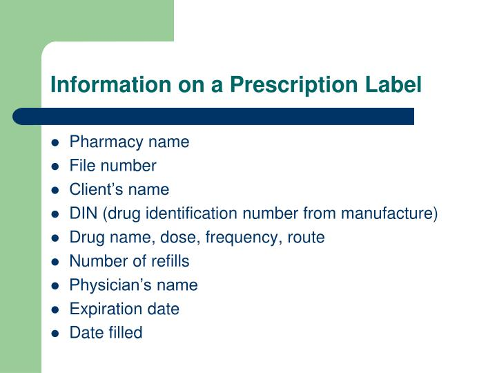 Information on a Prescription Label