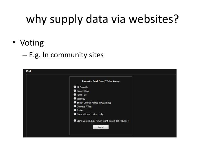 why supply data via websites?