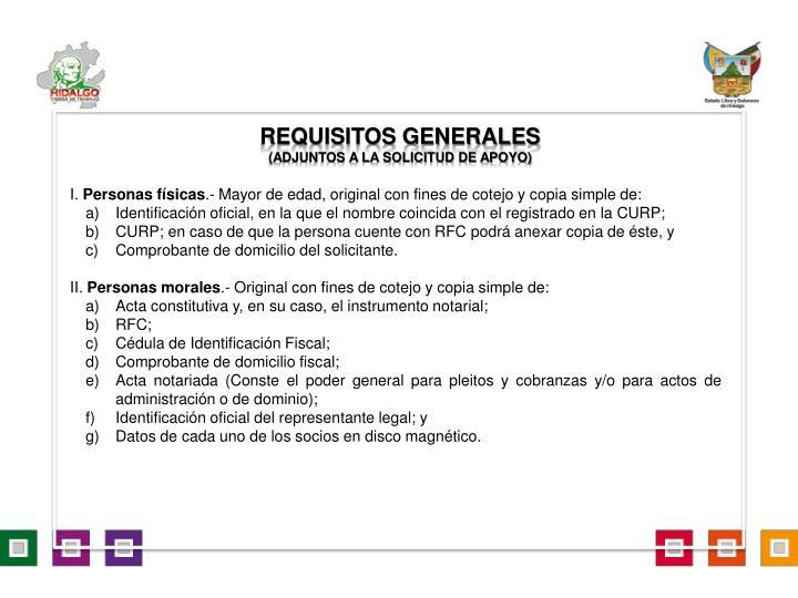 requisitos generales