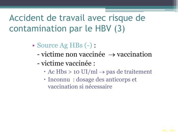 Accident de travail avec risque de contamination par le HBV (3)