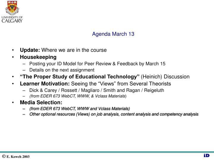 Agenda march 13