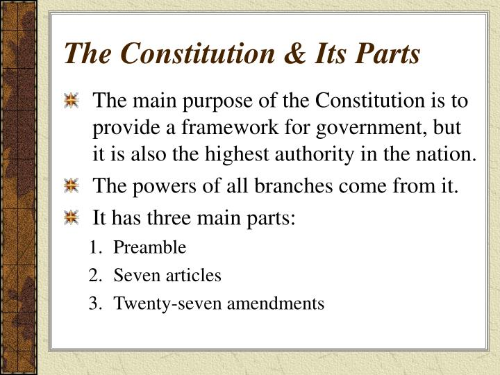 The constitution its parts