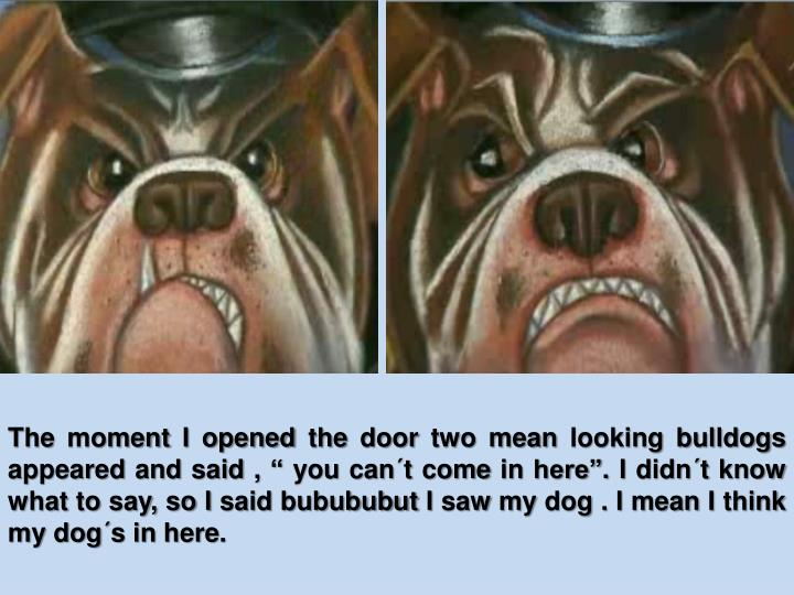 """The moment I opened the door two mean looking bulldogs appeared and said , """" you can´t come in he..."""