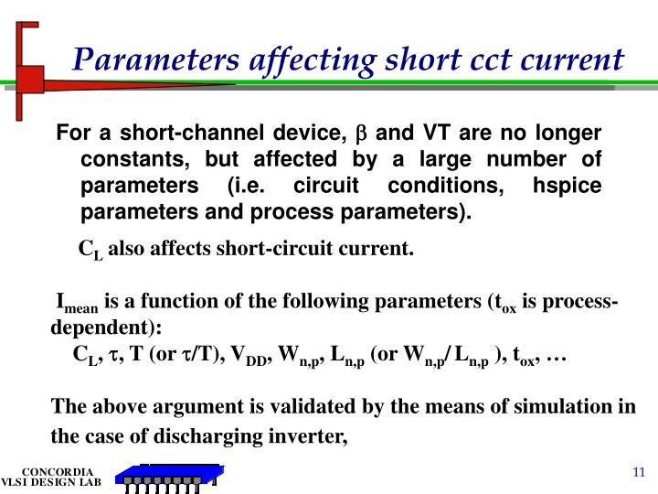 Parameters affecting short cct current