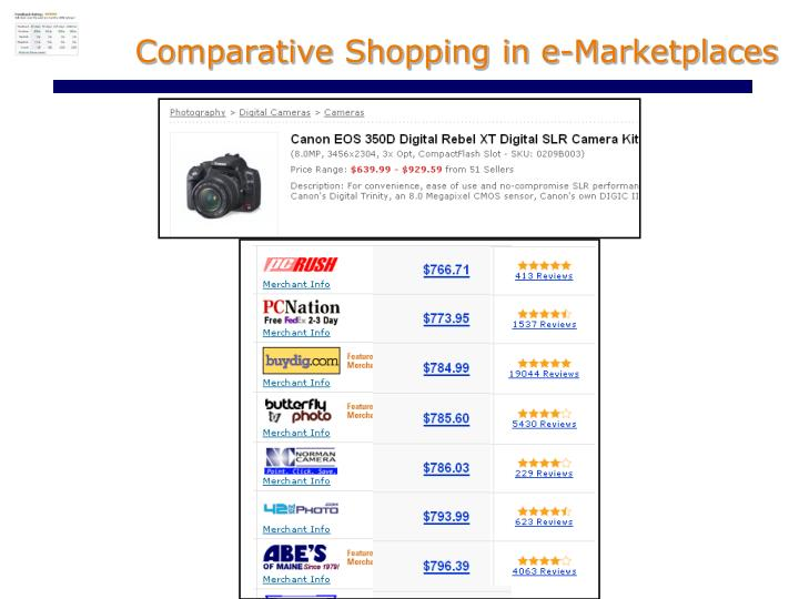 Comparative shopping in e marketplaces
