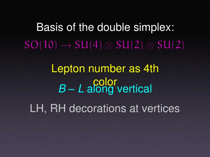 Basis of the double simplex: