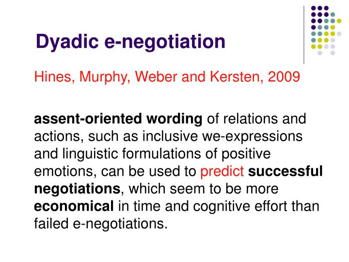 Dyadic e-negotiation