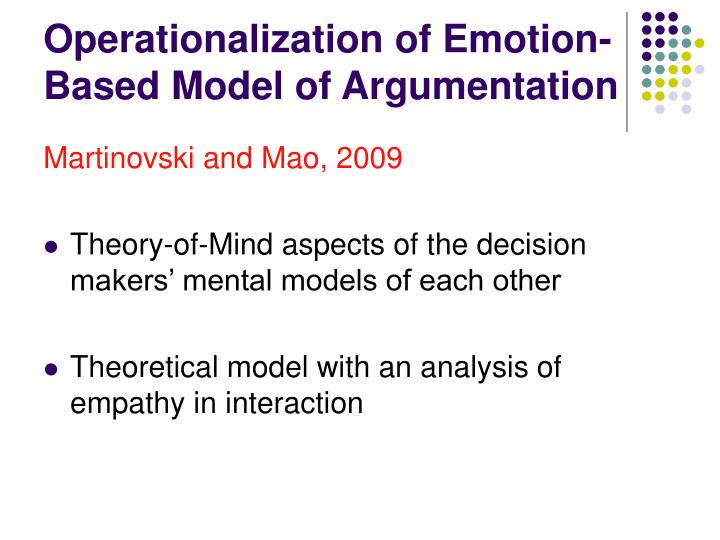 Operationalization of Emotion- Based Model of Argumentation