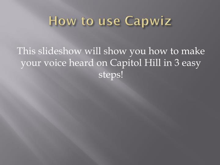how to use capwiz n.