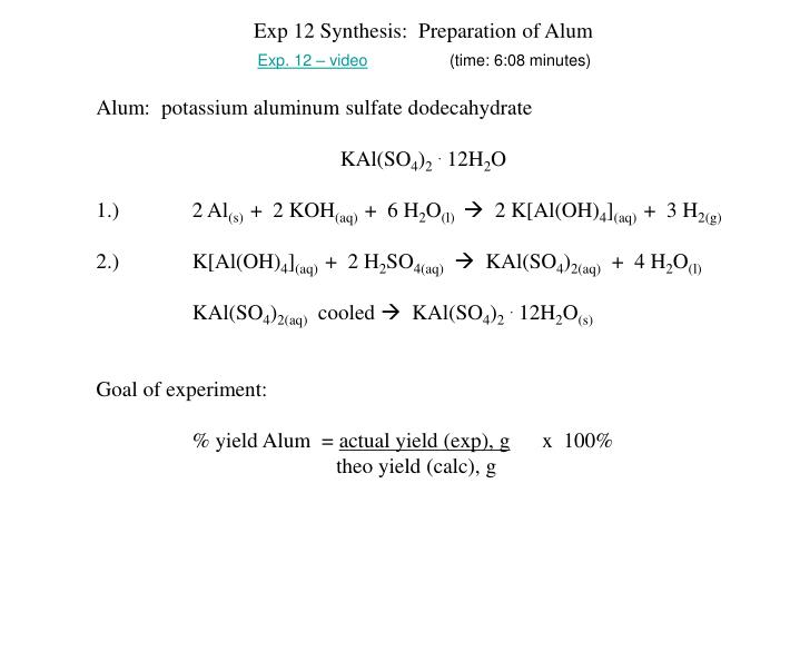 Ppt Exp 12 Synthesis Preparation Of Alum Alum Potassium Aluminum