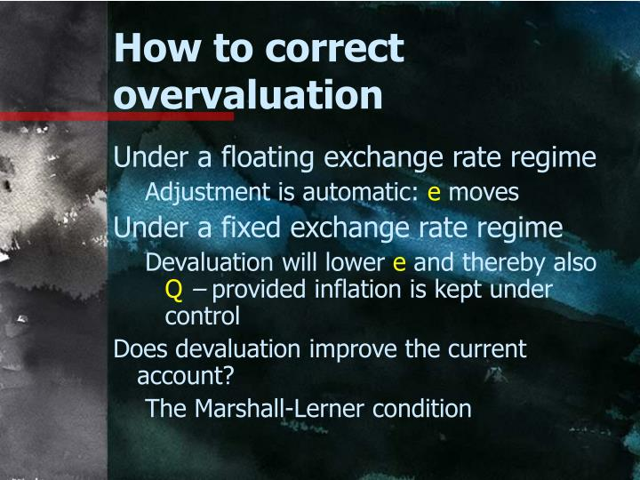 How to correct overvaluation