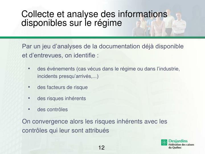 Collecte et analyse des informations disponibles sur le régime